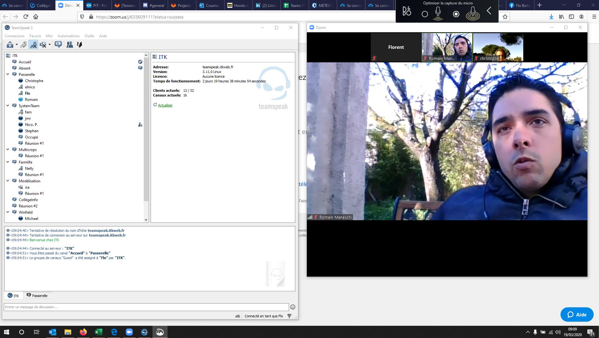 Utilisation simultanée de Teamspeak (multi-salles audio) à gauche de l'écran et Zoom (visio-conférence) à droite. Dispositif nécessaire au PI planning trimestriel, routine méthodolique SAFe (agilité à grande échelle).